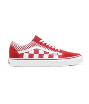 Кеды Vans Old School checkerboard красные
