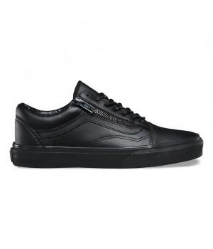 Кожаные кеды Vans Old Skool Zip (Gunmetal) черные