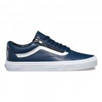 Кожаные кеды Vans Old Skool Zip (Premium Leather) синие