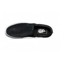 Кожаные слипоны Vans CLASSIC SLIP-ON черные с белым