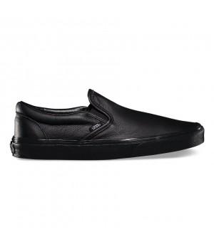 Кожаные слипоны Vans Classic Slip-On монохромные черные