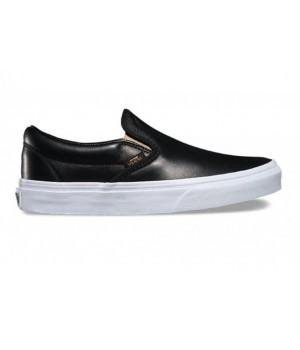 Кожаные слипоны Vans Classic Slip-On (Metallic Gore) черные
