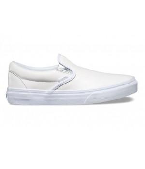 Кожаные кеды Vans Classic Slip-On (Metallic Gore) белые